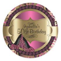 Birthday | Pink Leopard High Heels Classic Round Sticker