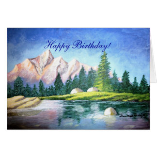 Birthday Pink Mountain Painting Greeting Card