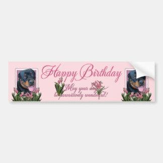 Birthday - Pink Tulips - Rottweiler - Harley Bumper Sticker