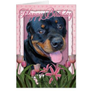 Birthday - Pink Tulips - Rottweiler - Harley Card