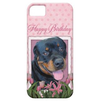 Birthday - Pink Tulips - Rottweiler - Harley iPhone SE/5/5s Case
