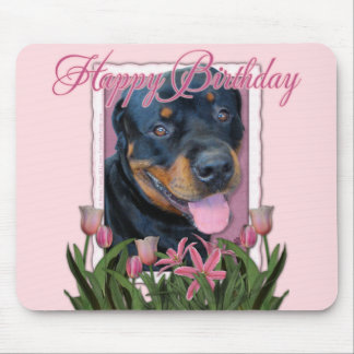 Birthday - Pink Tulips - Rottweiler - Harley Mouse Pad