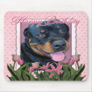 Birthday - Pink Tulips - Rottweiler - Harley Mousepads