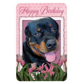 Birthday - Pink Tulips - Rottweiler - Harley Rectangular Magnets