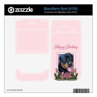 Birthday - Pink Tulips - Rottweiler - Harley Skin For BlackBerry Bold