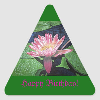 Birthday Pink Water Lily Painting Triangle Sticker