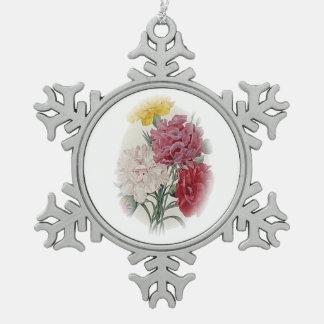 Birthday Pinks - Soft Edged Oval Snowflake Pewter Christmas Ornament