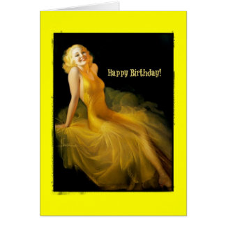 Birthday Pinup in Yellow Stationery Note Card