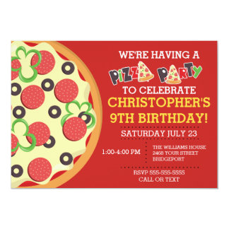 Birthday Pizza Party Invite