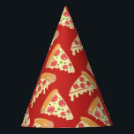 """Birthday Pizza Party Party Hat<br><div class=""""desc"""">These festive paper party hats feature a  repeating pattern or slices of pepperoni pizza dripping with cheese and are ready for your next pizza party.</div>"""