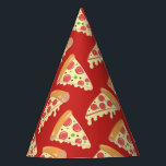 "Birthday Pizza Party Party Hat<br><div class=""desc"">These festive paper party hats feature a  repeating pattern or slices of pepperoni pizza dripping with cheese and are ready for your next pizza party.</div>"