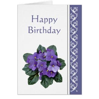 Birthday, Poem African Violet Purple Flower Cards