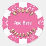 Birthday Poker chip add age sticker