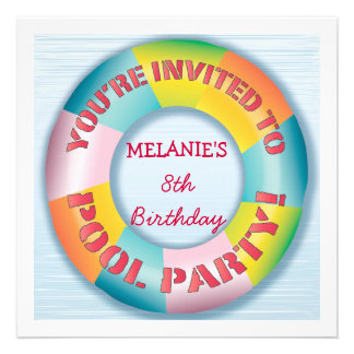 Birthday Pool Party Colorful Fun Float Invitation