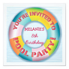 Birthday Pool Party Colorful Fun Float Invitation 5.25