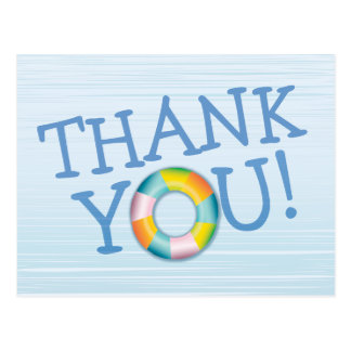 Birthday Pool Party Float Thank You Postcard