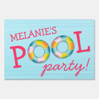Birthday Pool Party Float Yard Sign