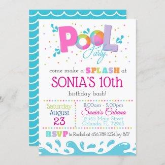 Birthday Pool Party Invitation Pink
