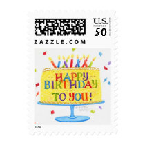 Birthday Postage Stamps Happy Birthday To You Cake