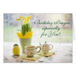 Birthday Prayer Scripture Tea Party and Daffodils Card