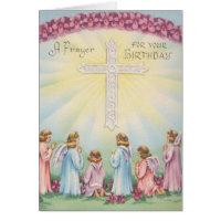 Birthday Prayers From Angels Greeting Card
