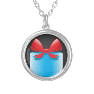 Birthday present blue round pendant necklace