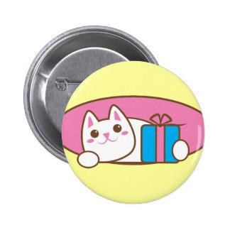 Birthday present Catty Walnut Pinback Button