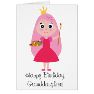Birthday Princess Artist Granddaughter Card