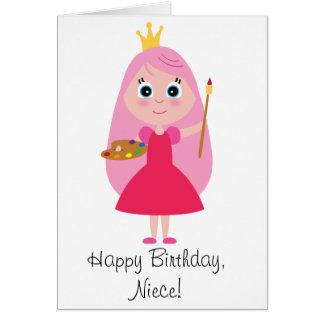 Birthday Princess Artist Niece Card