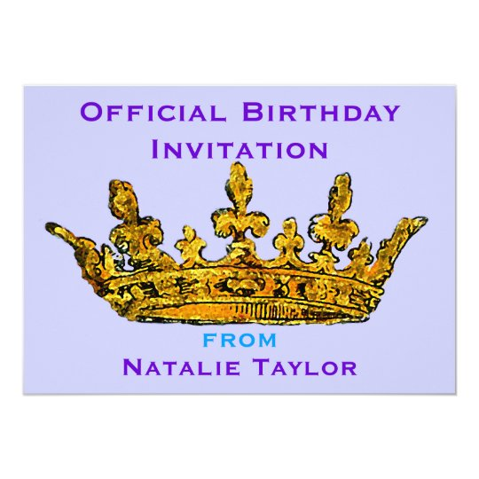 Birthday Princess Gold Crown Invitation