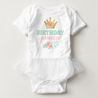 Birthday Princess Gold Crown & Shabby Pink Floral Baby Bodysuit