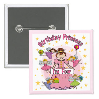 Birthday Princess I'm Four T-shirts and Gifts 2 Inch Square Button
