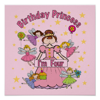 Birthday Princess I'm Four T-shirts and Gifts Poster