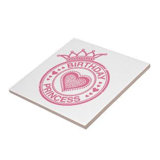 Birthday Princess - Pink - Small Square Tile