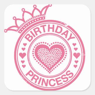 Birthday Princess - Pink - Square Sticker