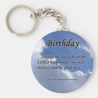 Birthday Psalm 118-24  Basic Round Button Keychain