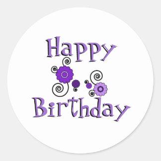 Birthday purple black flowers white background round sticker