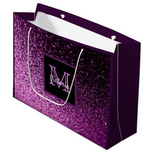 Birthday purple pink glitter glam monogrammed large gift bag