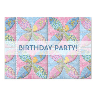 Birthday Quilt in Pastel Blues and Pinks Card
