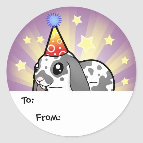 Birthday Rabbit (floppy ear smooth hair) Classic Round Sticker