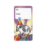 Birthday Rabbit (floppy ear smooth hair) Address Label