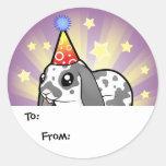 Birthday Rabbit (floppy ear smooth hair) Classic Round Sticker