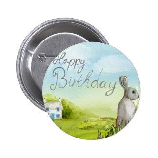 Birthday Rabbit Pinback Button
