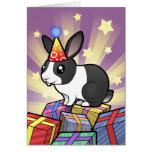 Birthday Rabbit (uppy ear smooth hair) Greeting Card