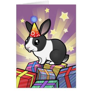 Birthday Rabbit (uppy ear smooth hair) Cards
