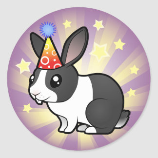 Birthday Rabbit (uppy ear smooth hair) Classic Round Sticker