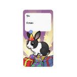 Birthday Rabbit (uppy ear smooth hair) Custom Address Labels