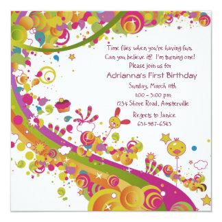 "Birthday Rainbow Invitation 5.25"" Square Invitation Card"