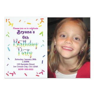 Birthday Rainbow Sprinkles Party Photo Invitation