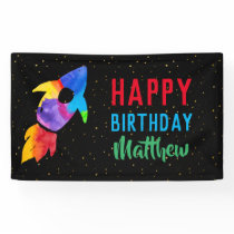 Birthday Rainbow Watercolor Rocket Outer Space Banner